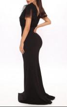 Crna duga haljina sa tilom