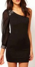 Crna haljina sa tilom i cirkonima