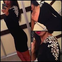 Crna neobicna haljina na jedno rame sa cirkonima