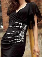 Crna haljina sa cirkonima i rukavcicima