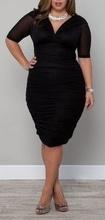 Crna nabrana haljina sa mrezastim rukavima