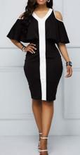 Crno bela haljina sa karnerom