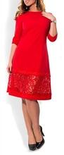 Crvena haljina sa detaljima cipke za punije dame
