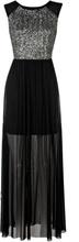 Duga crna haljina sa tilom i detaljima srebrnih diskica