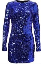 Kraljevsko plava haljina sa diskicima