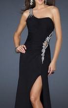 Duga crna haljina sa cirkonima na struku