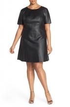 Haljina za punije dame od imitacije kože