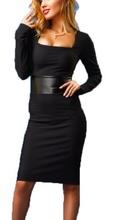 Crna dnevna haljina sa kocka izrezom