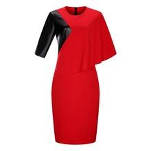 Crvena haljina sa detaljima imitacije koze
