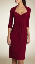 Dnevna bordo haljina sa 3/4 rukavima