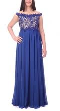 Duga kraljevsko plava haljina sa neobicnom cipkom