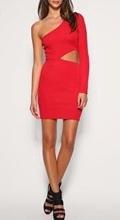 Crvena haljina sa neobicnim izrezom na struku
