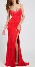 Duga crvena haljina na bretele sa rasutim cirkonima