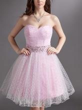 Roze haljinica sa tufnicama i sirkonima na pojasu