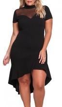 Crna haljina sa karnerom i tilom za punije zene