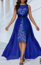 Kraljevsko  plava haljina sa muslinom