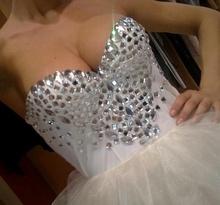 Bela haljina sa cirkonima i tilom