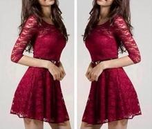 Bordo cipkasta haljina