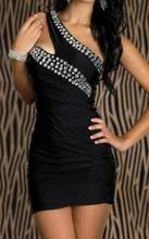 Crna haljina sa neobicnim bretelama i cirkonima