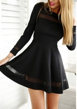 Crna haljina sa tilom gloknica