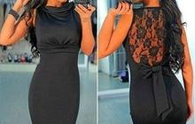 Crna neobicna haljina sa cipkom i masnom