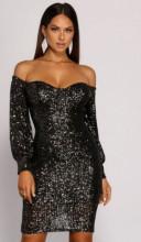 Crna svetlucava haljina sa rukavima