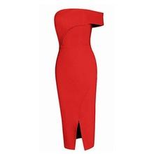 Crvena haljina na preklop i jedno rame