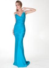 Duga plava nabrana sirena haljina