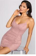 Puder roze cipkasta haljina