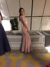 Puder roze haljina sa čipkom i bordurom