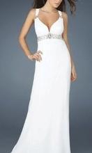 Duga bela haljina sa cirkonima