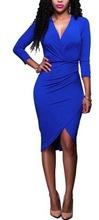 Kraljevsko plava haljina na preklop sa 3/4 rukavima