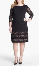 Crna haljina sa bež podlogom i detaljima od čipke