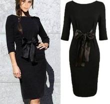 Crna haljina sa masnicom i 3/4 rukavima
