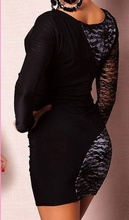 Crno bela cipkasta haljina