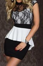 Crno bela haljina sa cipkicom
