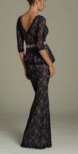 Duga cipkasta haljina sa karnerom i cirkonima oko struka