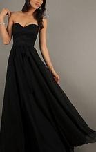 Duga crna haljina od cipke i muslina