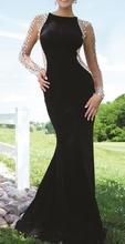 Duga crno bez haljina sa mrezicom i cirkonima