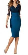 Kraljevsko plava haljina sa cipkom