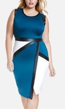 Belo plava haljina sa lajsnama od imitacije koze