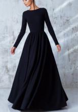 Crna dugacka haljina sa naborima