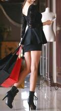 Crna haljina sa karnerom i cipkom