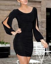Crna haljina sa secenim rukavima