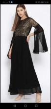 Crna svecana haljina sa muslinom i diskicima