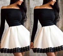 Crno bela haljina sa detaljima cipke