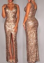 Duga zlatna haljina sa diskicima