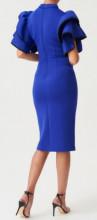 Plava haljina sa masnom na ramenu