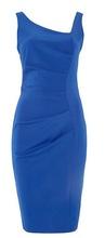 Plava haljina sa neobicnim izrezom i faltama