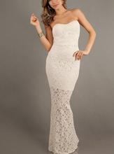 Duga krem top cipkasta haljina
